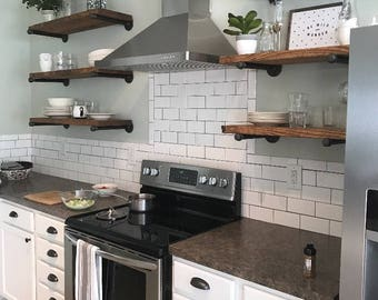 Ordinaire Open Kitchen Shelves, Industrial Pipe Shelving, Farmhouse Open Shelving,  Laundry Room Shelves,