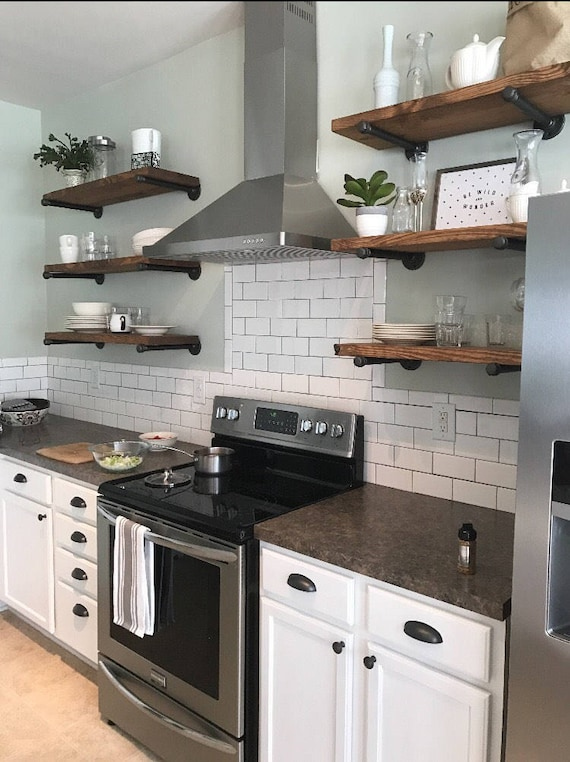 Open Kitchen Shelves Industrial Pipe Shelving Farmhouse Open