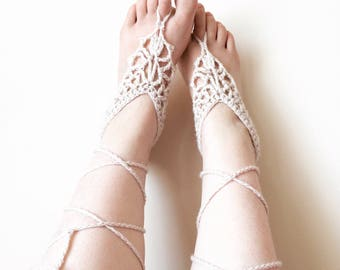 Barefoot sandals/ Crochet barefoot sandals/ Beach wedding shoes/ Boho wedding shoes/ Boho bride/ Summer wedding sandals/ Bridesmaid wedding