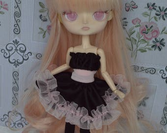 Dress black and pale pink Thyam [Dal = stock & obitsu 21cm]