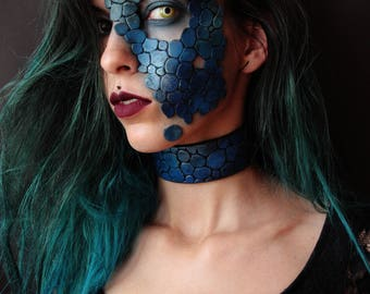 dragon leather / scales mask - mermaid costume - fantasy costume, perfect for halloween, larp, carnival - half face prosthetics EVA FOAM