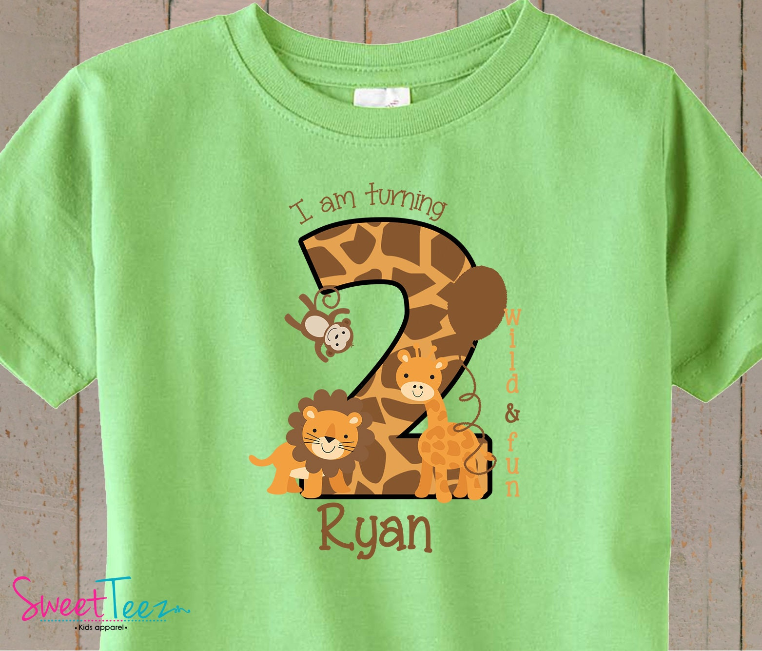2nd Birthday Shirt Safari Animals Second Boy Girl Heather Tshirt Jungle Kids Toddler