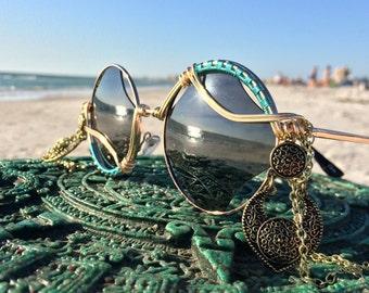 New Design ~ 400 UV Rhombus Round SunGlasses ~ Metal & Chains ~ SPUNGLASSES ~ Hippie Gypsy Boho Bohemian Festy Festival Sunglasses Eyewear