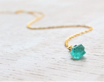 Rough Apatite Nugget Necklace Rose Gold, Raw Apatite Necklace, Raw Blue Gemstone Necklace, Delicate Rough Crystal Necklace, Apatite Crystal