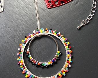 Round pendant / / multicolored beads Miyuki