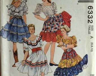 Uncut 1990s McCall's Vintage Sewing Pattern 6332, Size 6-8-10; Misses' Tops, Skirts and Petticoat