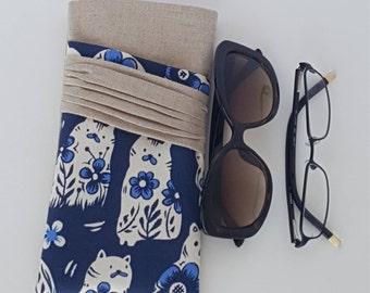 Sunglasses & Reading Glasses Case/Cream Kitty Cat Print Eyeglasses Pouch/Natural Linen Sunglasses Case/Sunglasses Storage/Bridesmaid Gift