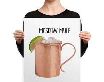 moscow mule print etsy. Black Bedroom Furniture Sets. Home Design Ideas