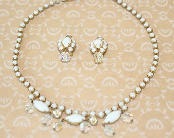 Vintage Milk Glass and AB Rhinestones with AB Crystal Dangles Necklace and Earrings Set Gold Tone Demi Parure