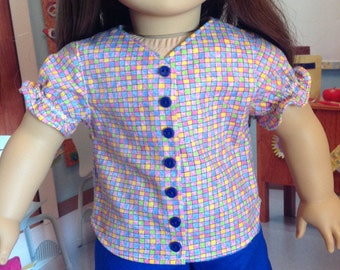 Hi-lo hem shorts, multicolor checked top. Ruffled sleeved top, summer wear, beach wear, warm weather wear, picnic wear, girls top and shorts