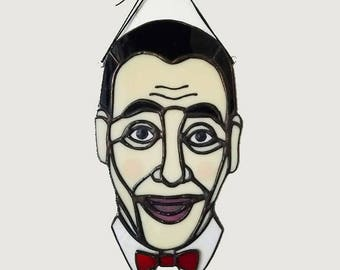 Pee-Wee Herman Portrait Stained Glass Suncatcher