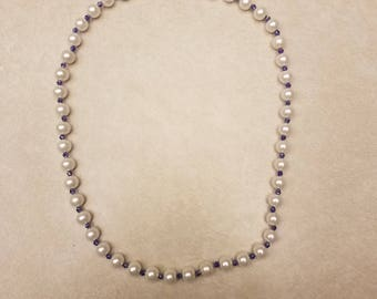 Faux Pearl and Bicone Necklace