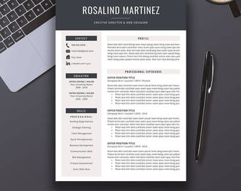Creative Professional Resume Template / CV Template + Cover Letter Word (US Letter, A4), Modern Resume Design, Instant Download, ROSALIND