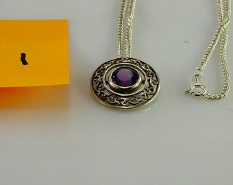 """Reserved debclaus Purple Stone Sterling Filigree Pendant on a Sterling 20"""" Chain"""