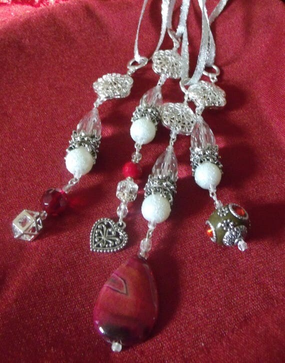 Crystal icicle ornaments - crimson agate teardrop - filigree tree decor - wedding favors - jewel - Christmas present - festive gift -
