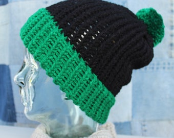 Black and Green Beanie #106