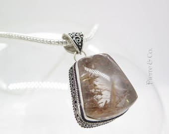 Rutilated Quartz Sterling Silver Pendant and Chain