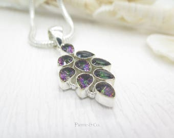 Mystic Topaz Sterling Silver Pendant and Chain