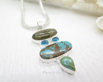 Blue Fire Labradorite and Turquoise Sterling Silver Pendant and Chain