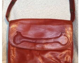 Vintage LEATHER purse, Italy for Bloomingdales Small Snap Brown