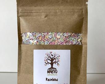 Vegan Rainbow Sprinkles, Dye-Free, Pastel Sprinkles, Organic Sprinkles, Plant-Based Sprinkles, Gluten-Free, Natural Jimmies (1 oz.)