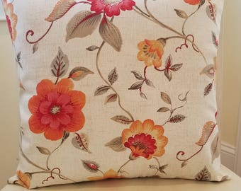Floral orange and pink pillow cover 16 X 16 inch. Pillow cover only. Several in stock.