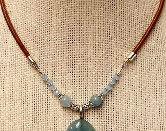 Genuine Aquamarine Pendant Necklace/March Birthstone Jewelry/Genuine Gemstone/Czech Glass/Genuine Leather Cord/Pewter/Gift for Her Under 30