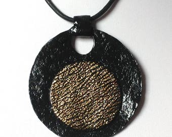 Large round pendant, black and gold/cord offered / polymer and hand made/gold foil