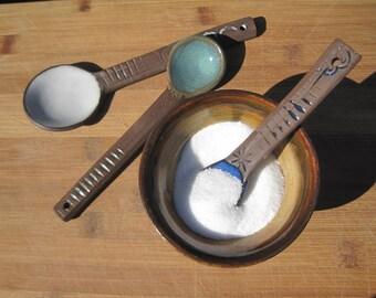 Funky Spoons (set of 3) coffee scoop, ceramic spoons, condiment spoons, serving spoons, clay spoons, handmade spoons, scoops