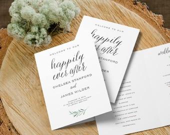 "Wedding Program Folded Template   Happily Ever After, Program Printable, Ceremony Printable   Rustic Wedding, Wedding   5x7""   No. EDN 5499"