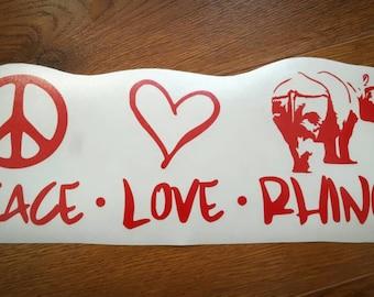 Peace Love Rhinos Vinyl Decal