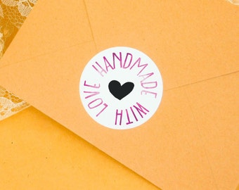 Handmade with love, watercolour stickers, packaging labels, art stickers, watercolor, shipping label, product label, gift wrap, handmade