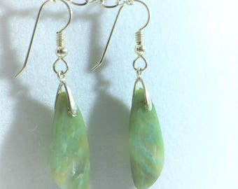 Beautiful Free Form Chrysoprase/Agate Drop and Dangle Earrings With Sterling Silver French Hook Ear Wires - All Natural       E025