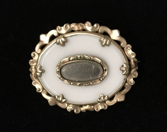 Antique Victorian Mourning Brooch White Onyx and Hair Locket