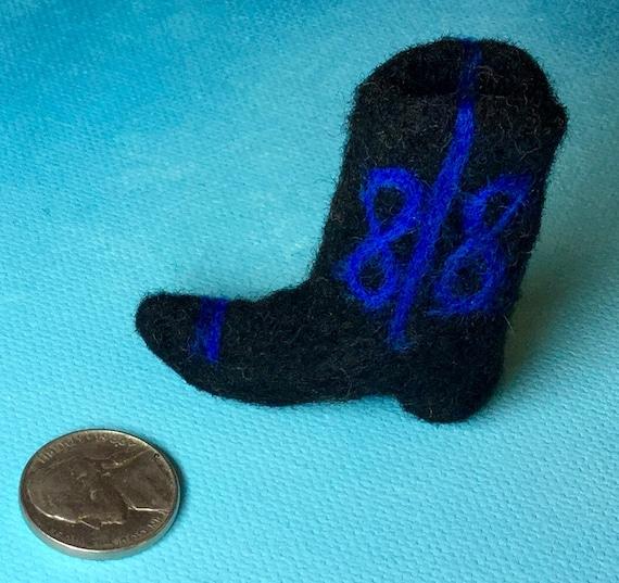 Texas black cowboy boot miniature refrigerator magnet