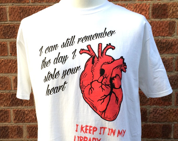 Featured listing image: Valentines gift, I stole your heart funny t-shirt, valentines horror tshirt, funny horror t-shirt, nameless city apparel, alt valentines tee