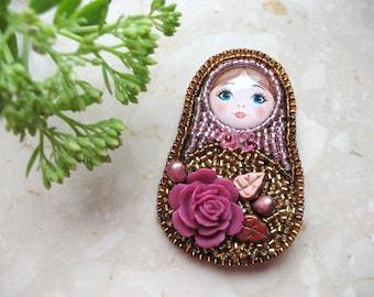 Matreshka brooch, Russian doll pin, babushka