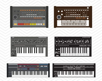 Retro Analog Synthesizers SVG DXF PNG eps Music Cut File for Cricut Design, Silhouette studio, Sure A Lot, Makes the Cut, instant Download