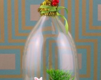 Handmade white rabbit cloche/diorama ornament.