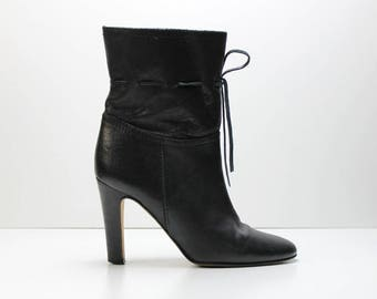 90s black leather minimalist structural heel ankle boots US 6.5