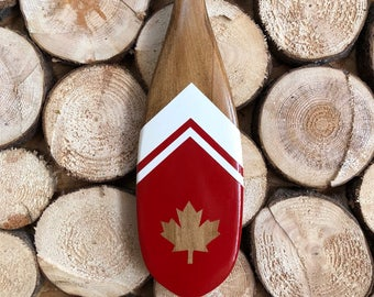 Canada mini paddle, canoe paddle, painted canoe paddle, decorative oar, Canadian made red and white paddle