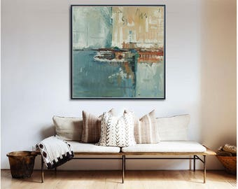 """Large Abstract Painting Blue Cream 33"""" x 33"""" Original Oil on Canvas Modern Minimalist Huge Giant Wall Art Contemporary"""