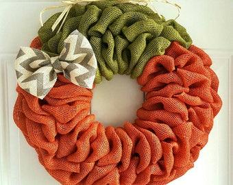 Pumpkin wreath burlap wreath Fall wreath Autumn wreath Thanksgiving wreath Halloween wreath orange wreath burlap pumpkin