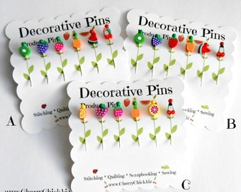 Decorative Sewing Pins - Fruit Pins - Produce Sewing Pins - Card making Pins - Scrapbooking Pins - Quilting Pins - Fimo Pins - Pin Toppers