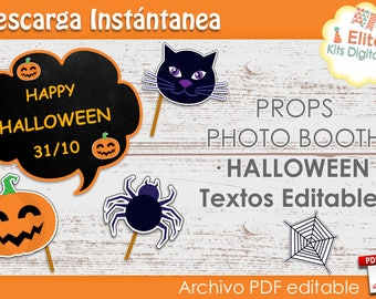 Printable Kit Halloween - Props Photo Booth editable texts Halloween Photo Booth Props - Halloween Party Supplies - Party Decor Printable