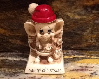 Christmas Mouse, 1969 Russ & Wallace Berrie Collectible/Christmas Decor