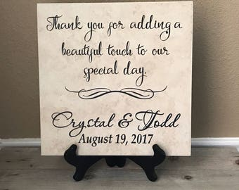 Personalized Tile, Thank You Sign, Name Tile, Guest Book, Welcome Sign, Wedding Sign, Table Sign, Wedding, Special Day, Personalized Sign