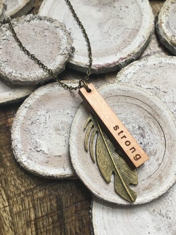"""Strong / 24"""" Necklace / Engraved Wooden Pendant / Brass Feather Charm"""