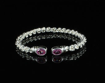 Braided Bangle with Lab Created Synthetic Pink CZ October Birthstones Handmade in sterling silver .925