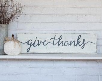 "Fall sign | give thanks sign | farmhouse fall decor | farmhouse fall sign |  wood sign | rustic wood sign | rustic wall decor | 28""x 7.25"""